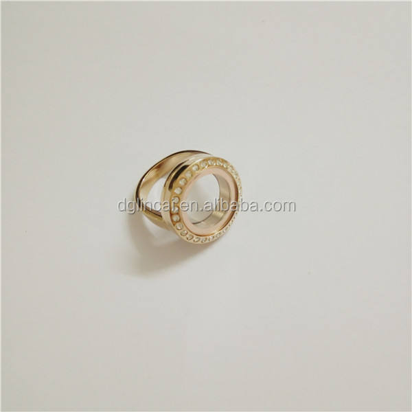 stainless steel glass round floating locket rings