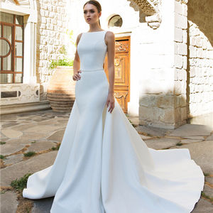 2020 Custom Made Elegant Vestido de Noiva Satin Mermaid Wedding Gowns Detachable Overskirt Bridal Dresses