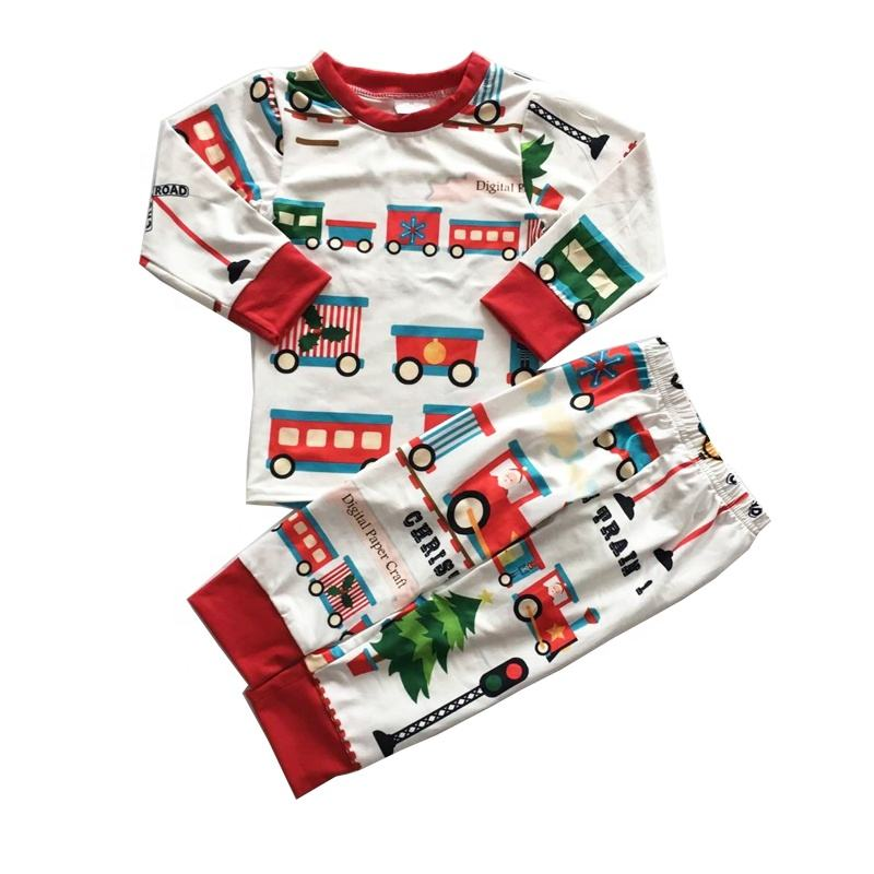 MOQ 1 Kids suits Trains design striped Pajama Set New Christmas Boys or Girls Outfit rts