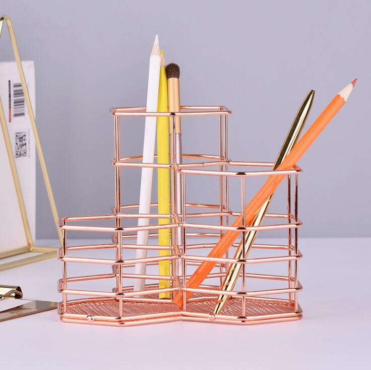 Tri Hexagon Metal Makeup Brush Organizer Stationery Storage Container Pencil Marker Gel Pen Holder