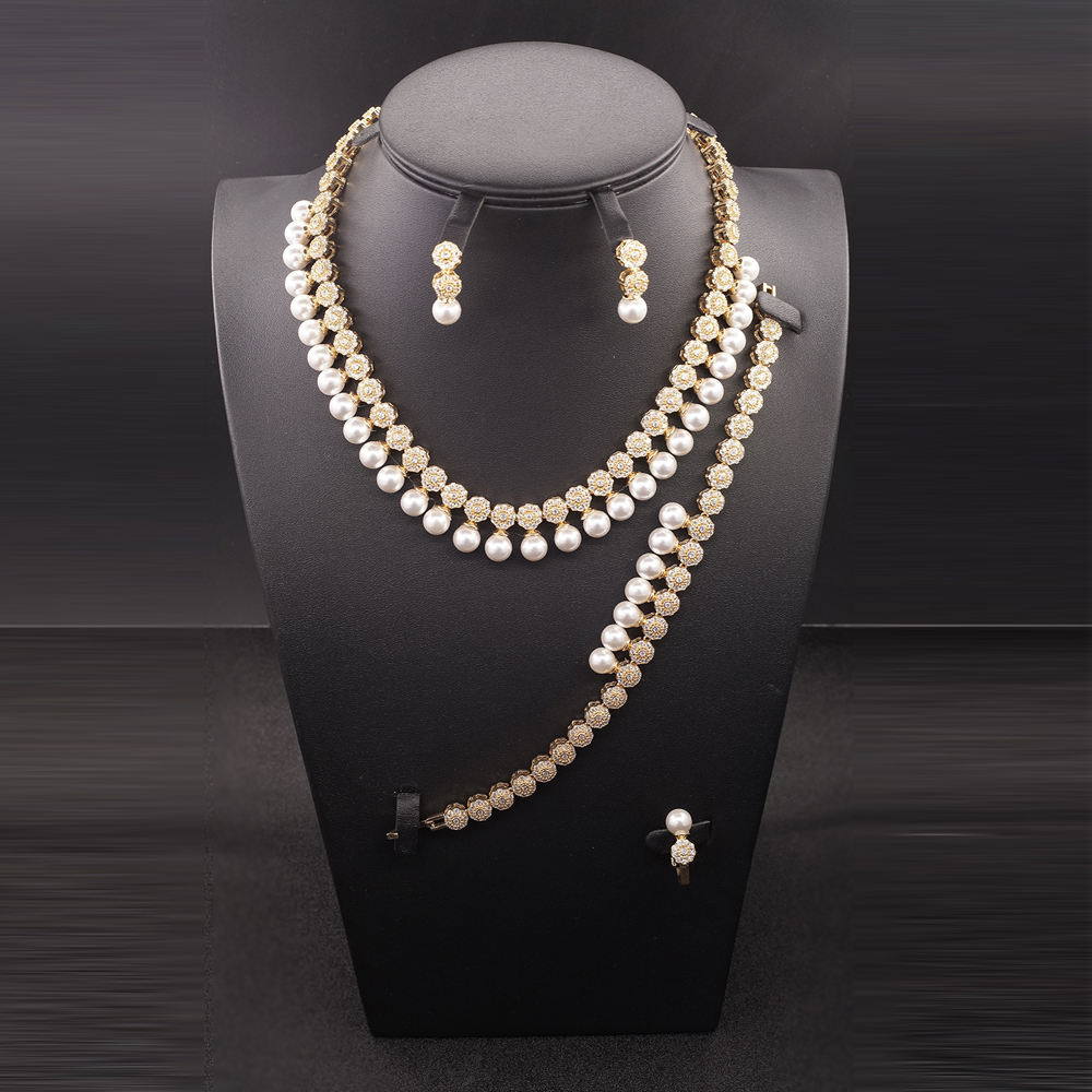 New design 18K pearl pearl jewelry with cubic zircon bracelet for woman as wedding accessories decoration