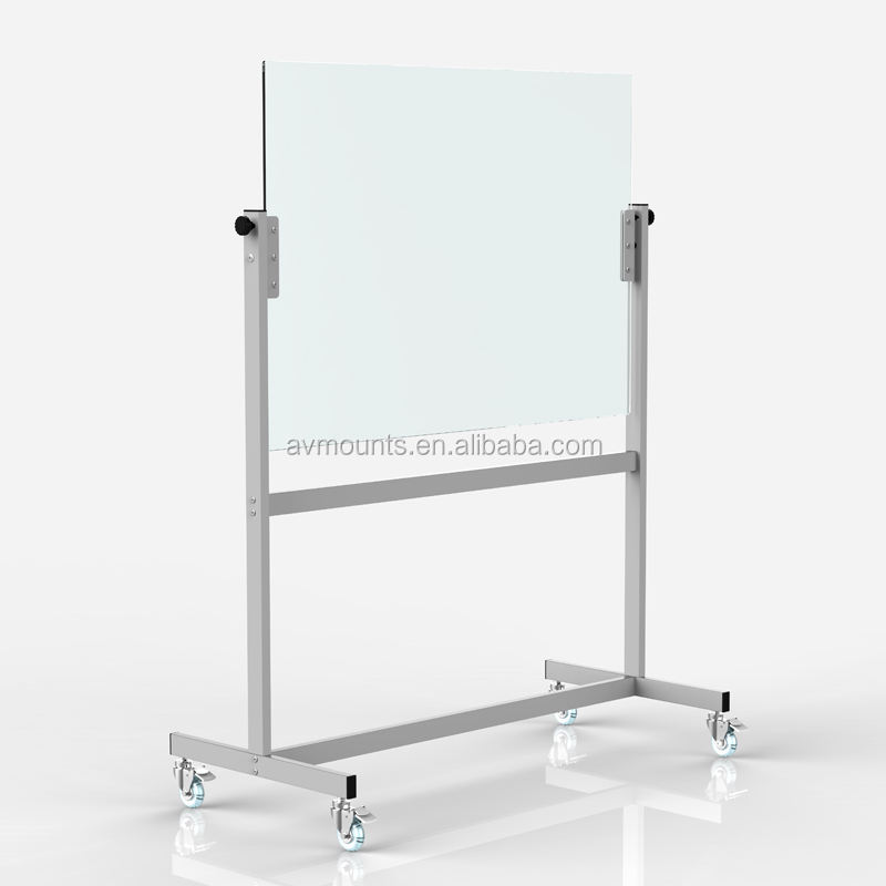 NEW Thick 8mm Tempered Glass and SPCC Transparent Removable Glass Board Whiteboard With Non marring Grip Swivel Casters