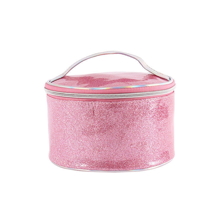 Personality Small Zipper Round Cosmetic Bag, Portable Round Handle Cosmetic Storage Case