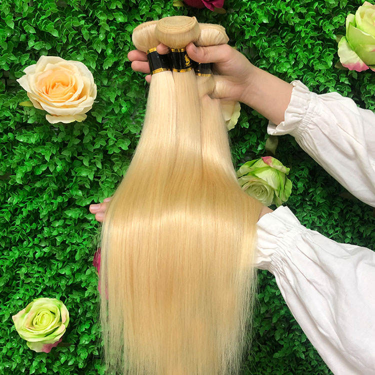 Perruque naturelle Blonde brut indienne Remy, tissage de cheveux, vrais cheveux, blond platine, 613