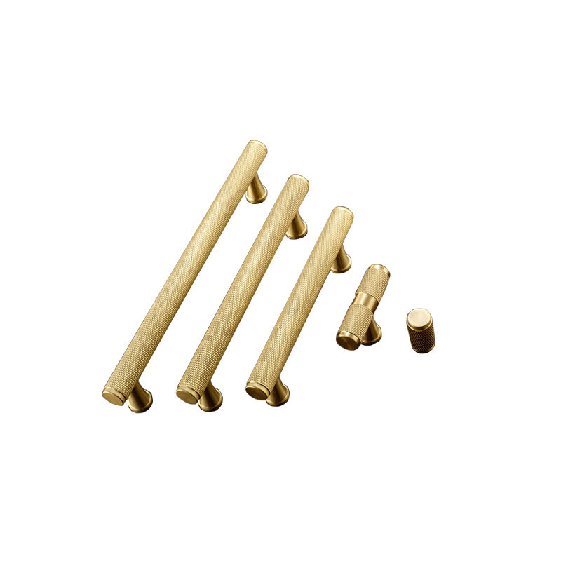 T-shaped Solid Brass knurled Cabinet handle Satin Brass Knurling door pull handle and Knob for Furniture C-1251