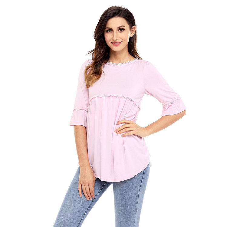 Latest Designs Ladies Sexy Clothing Apparel Babydoll Long Woman Blouse India Wholesale Cotton Tunic
