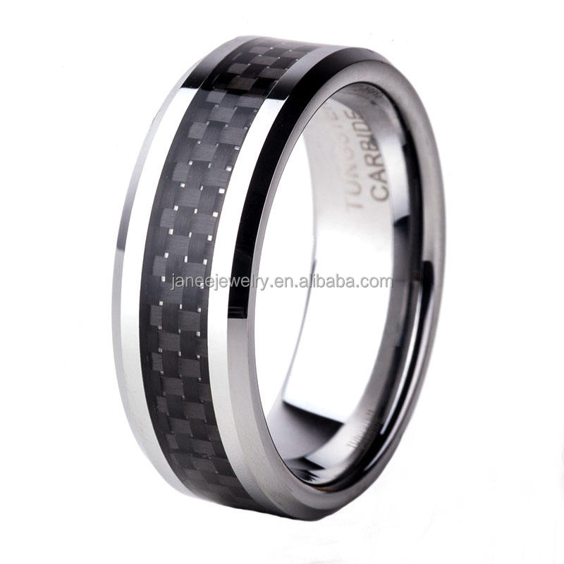 China Wholesale Products Black Carbon Fiber Tungsten Carbide Ring for Men