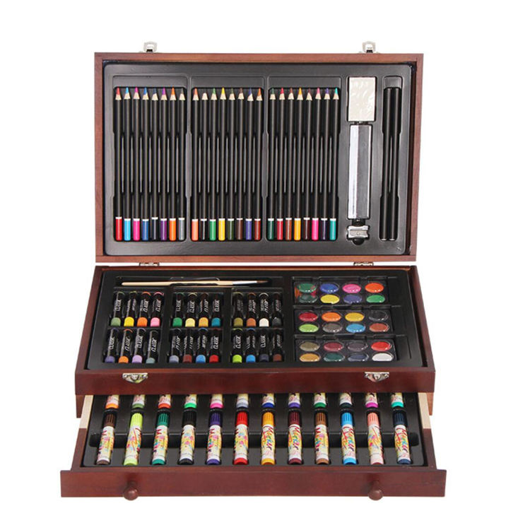 wooden box school drawing art paint set for kids with water color brush crayon