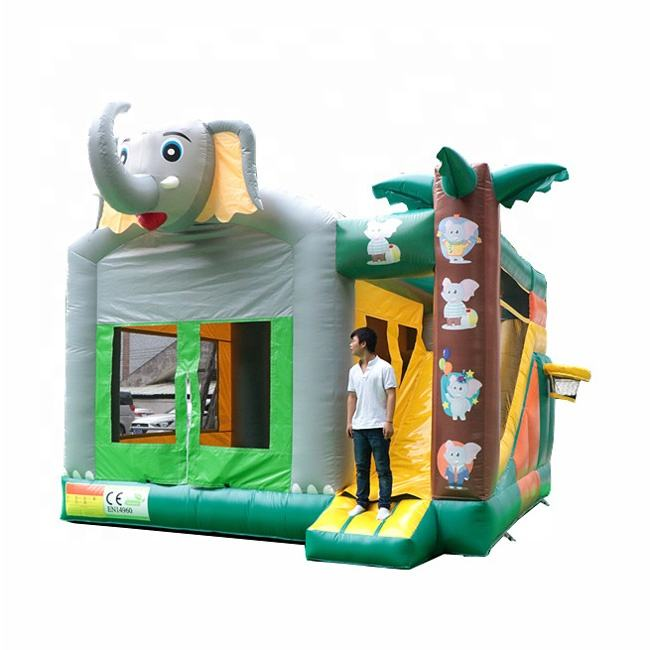 Manufacture inflatable jumping castle combo slide inflatable elephant bouncer with slide for outdoor or indoor game