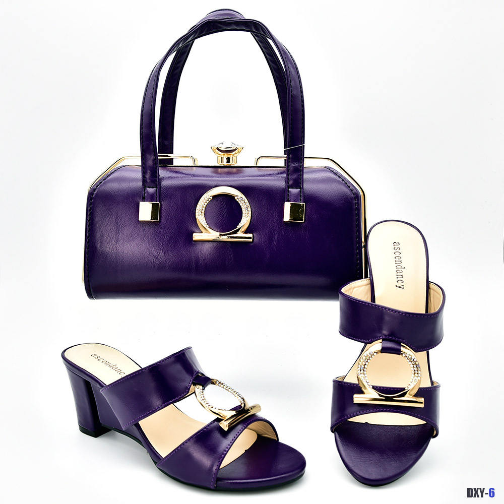 Hot selling african ladies pu leather shoes and bags set for woman