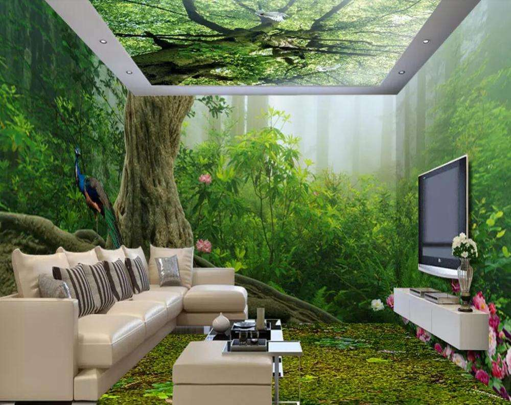 long size forest green trees print 3d pvc wall paper