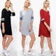 New Model Casual Dresses Long Sleeve Jersey Short Tunic Shift Raglan Baseball Dress Women With Curve Bottom