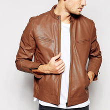clothing suppliers wholesale custom leather bomber jacket in tan motor leather jacket