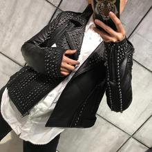 high quality women genuine leather jacket ladies thick soft rivet real leather motorcycle jacket