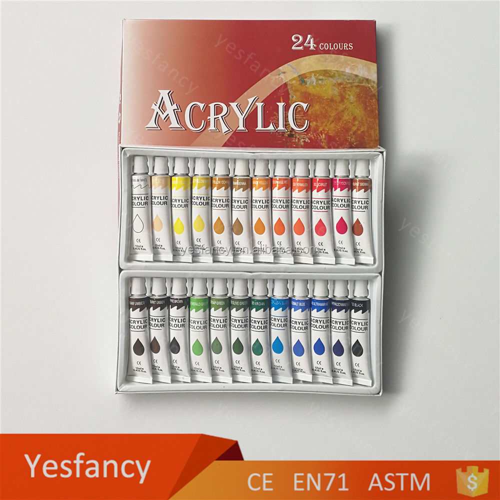 Economic and reliable 24colors 12ml small blue 3d acrylic paint set