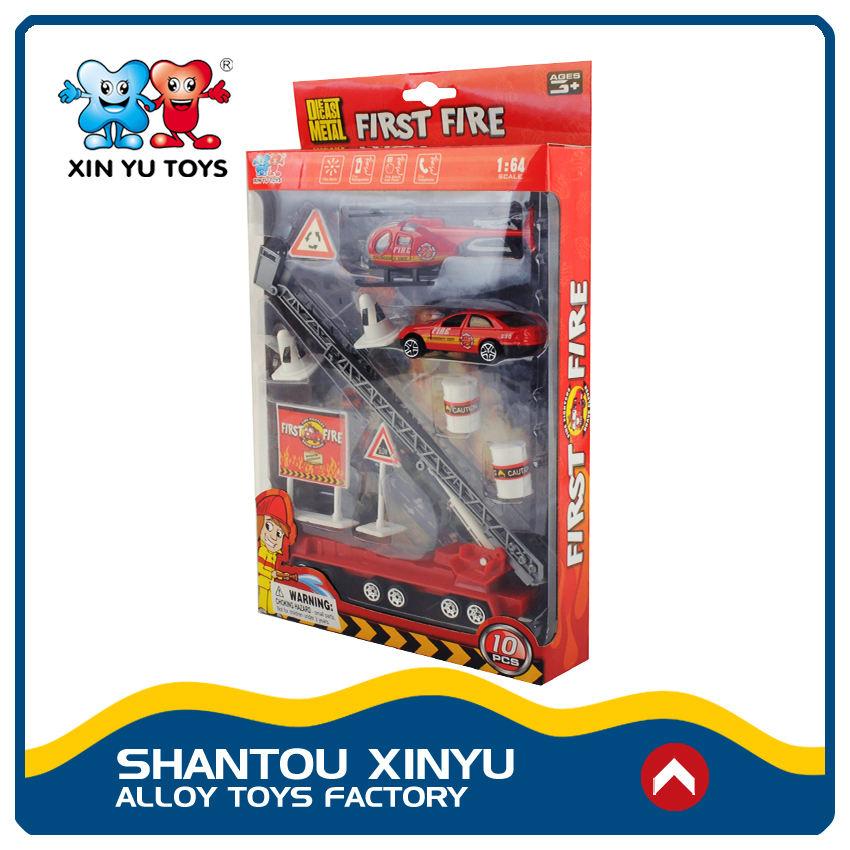 Venda quente de plástico shantou e diecast caminhão de bombeiros definir novos brinquedos para o miúdo 2017