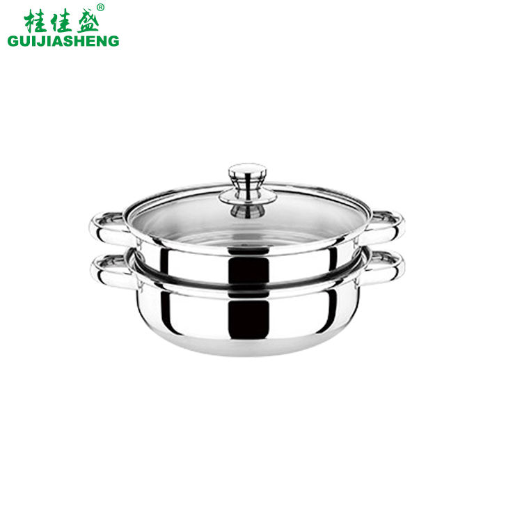 High Quality Stainless Steel Induction Steamers Pot, 2 Layers Double Handle Food Cooking Pots with Lid
