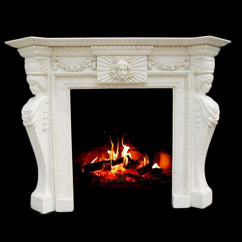 Customized marble fireplace mantel with electric fireplace
