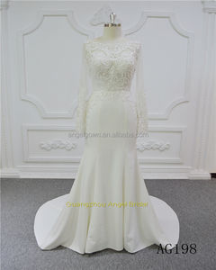 Alibaba lengan panjang lace sexy backless transparan murah mermaid stunning bridal gown wedding dress 2017