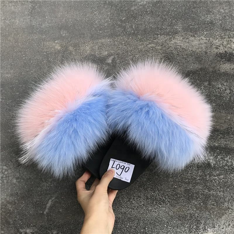 Good quality raccoon fur slippers