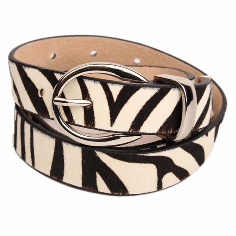 Metal Tipped D-Ring Zebra Leather Belt