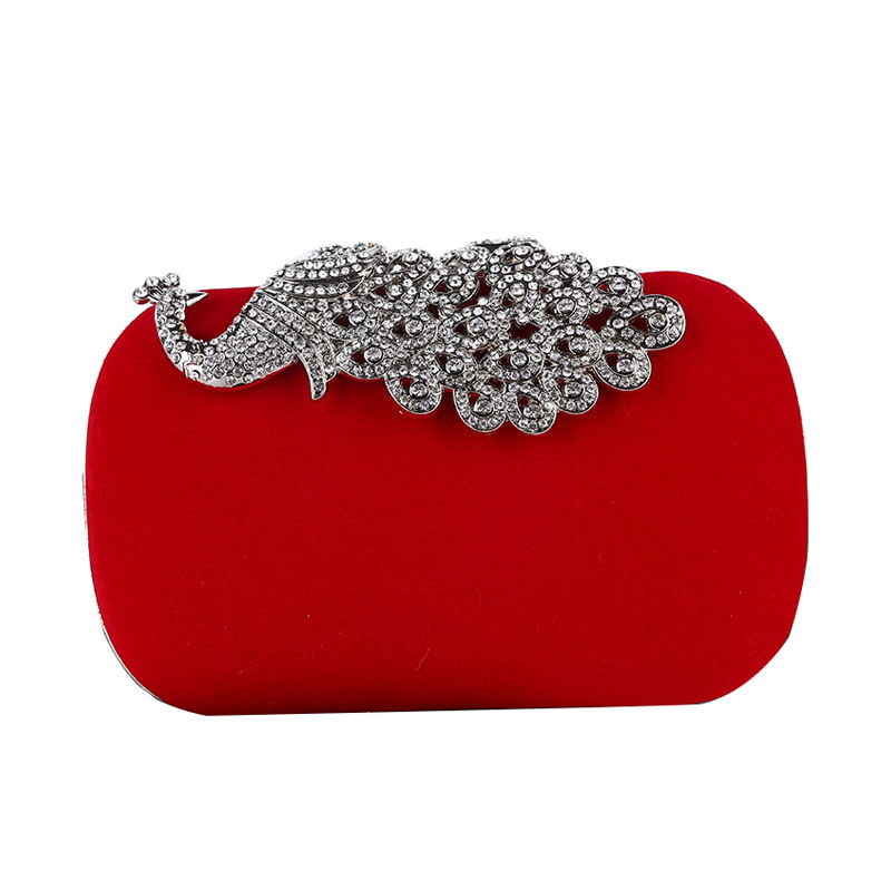 Online Shopping Fashion Peacock Rhinestone Velvet Box Clutch Evening Bags for Party CLZB-3