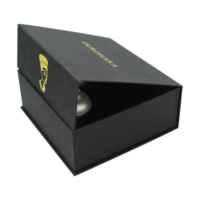 Fashion Black Specialty Paper Wrapped Cosmetic Packaging Boxes with Gold Foil Stamping