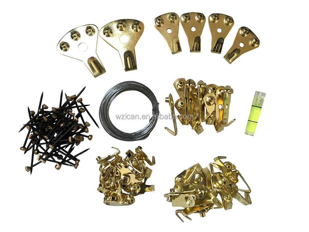 123 Pcs Professional brass Picture hanging Hook Hanging Kit for Wall Mounting with Pin Nails One Level Free