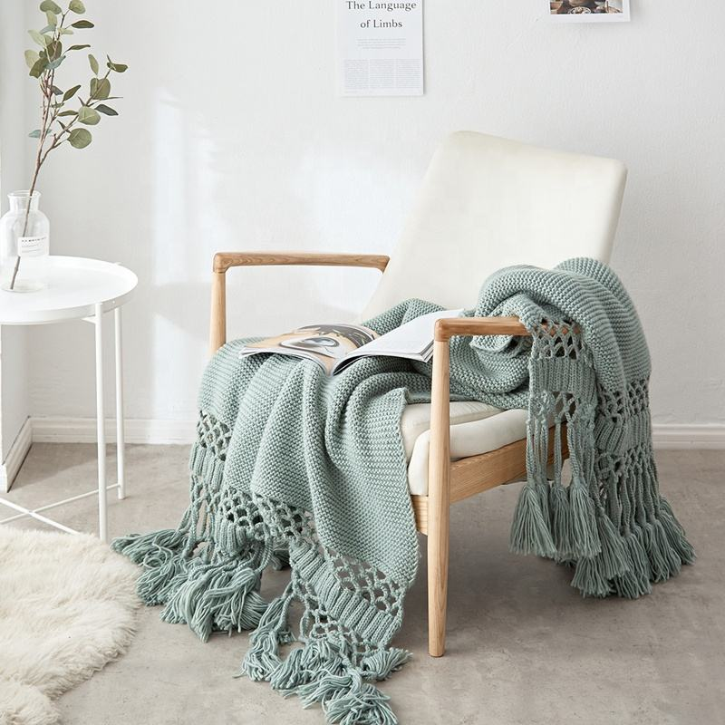 i@home Handmade hollow tassel knitted throw blanket for sofa