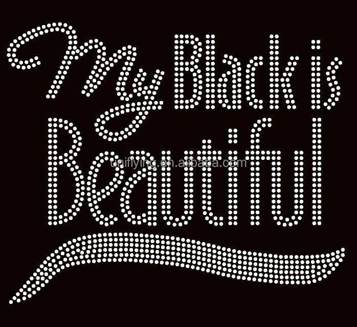 My Black Is Beautiful Afro Berlian Imitasi Transfer 9.2 Inci Lebar Kustom Motif Berlian Imitasi untuk Kaus