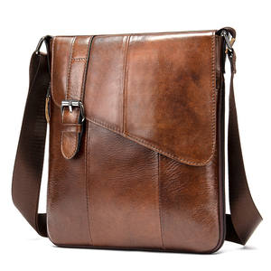 Accept Sample Custom 8240 Single Shoulder bag Guenuine Leather Messenger Bags for Men Black