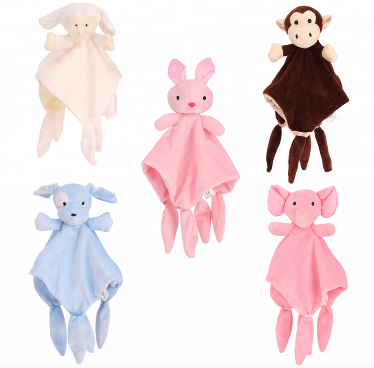 Soft Animal Appease Towel Baby Plush Rattle Blanket Infant Comforter Doll Toy Q