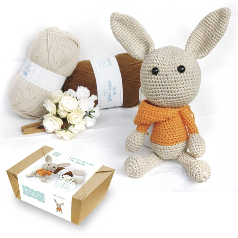 Cute Animal Bunny DIY Knitting kit DIY Crochet Kit