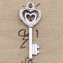Key Charms New Arrival Antique Silver Vintage Skeleton Heart Key Pendant and Charms for Necklace DIY
