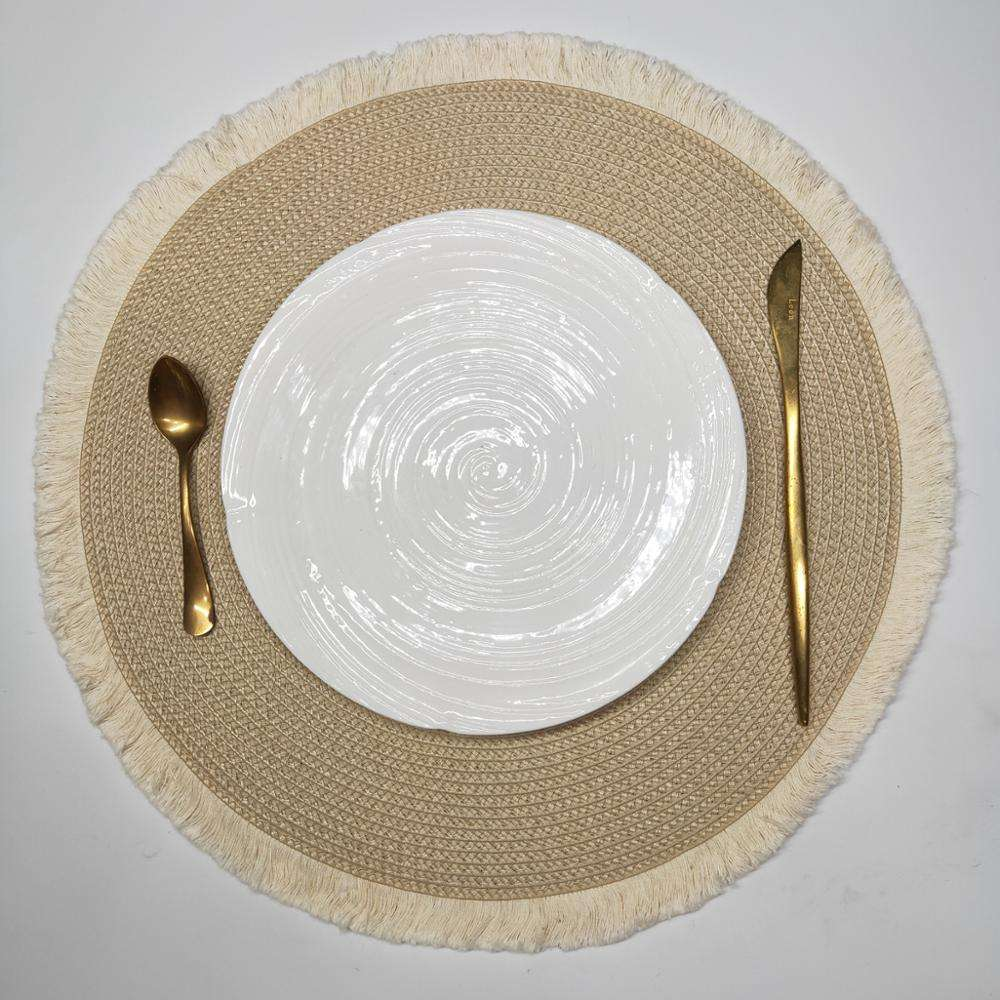Tabletex mais barato eco friendly 38 cm anti slip pp placemat rodada