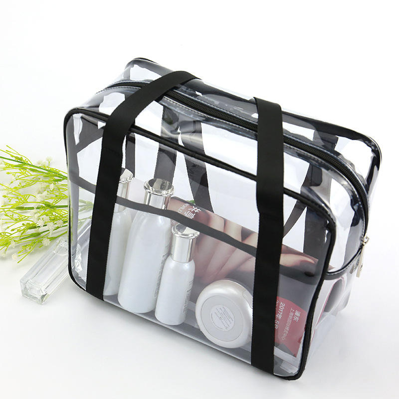 Large capacity see through pvc travel zip lock cosmetic bags