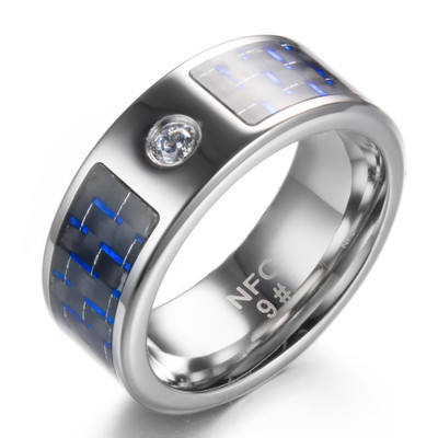 Huilin Customized NFC Intelligent ring Digital smart rings Blue carbon fiber with diamond