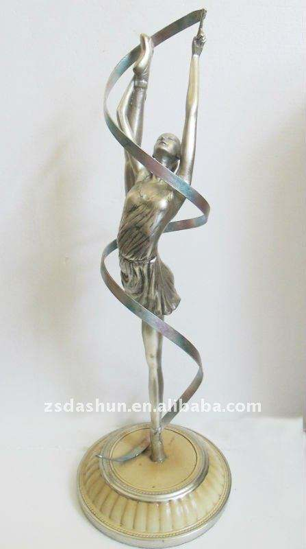 Resina ds-00168pc cromo escultura de bailarina regalos y artesanías