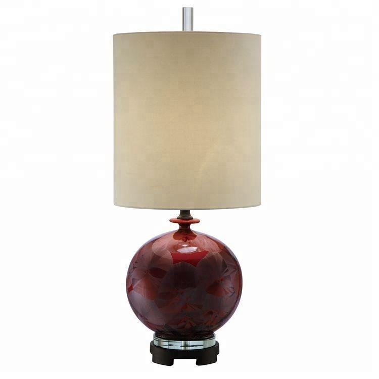 wholesale hotel decorative bedside crystal red vintage ceramic table lamps