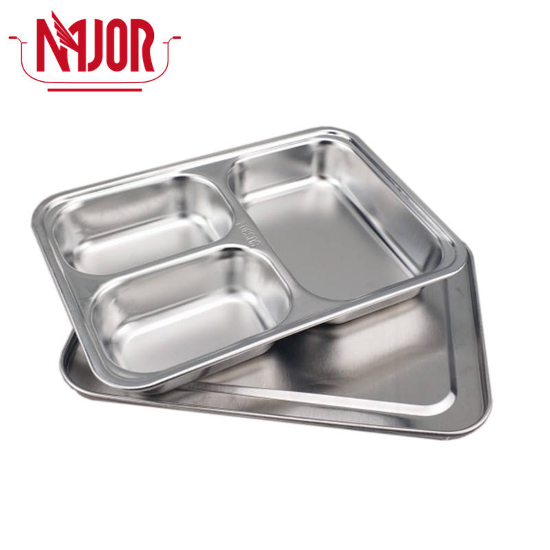 304 Stainless Steel 3 Compartments(2 Small Rectangle + 1 Big Rectangle) Rectangle Deepen Divided Food Plates Military Mess Tray