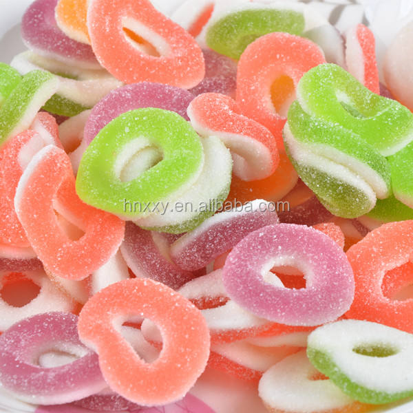 Confectionery sugar coated round ring shaped juicy fruits gummy candy