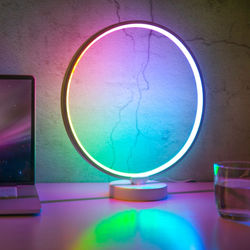 Factory Supply Home and Hotel  Modern Circle RGBW Colorful  Dimmable Table Lamp