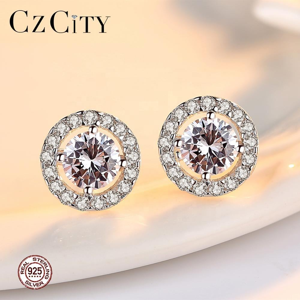 CZCITY Round Shape Cubic Zirconia Classic 925 Sterling Silver Stud Earrings for Women Circle Earrings Silver CZ Diamond Studs