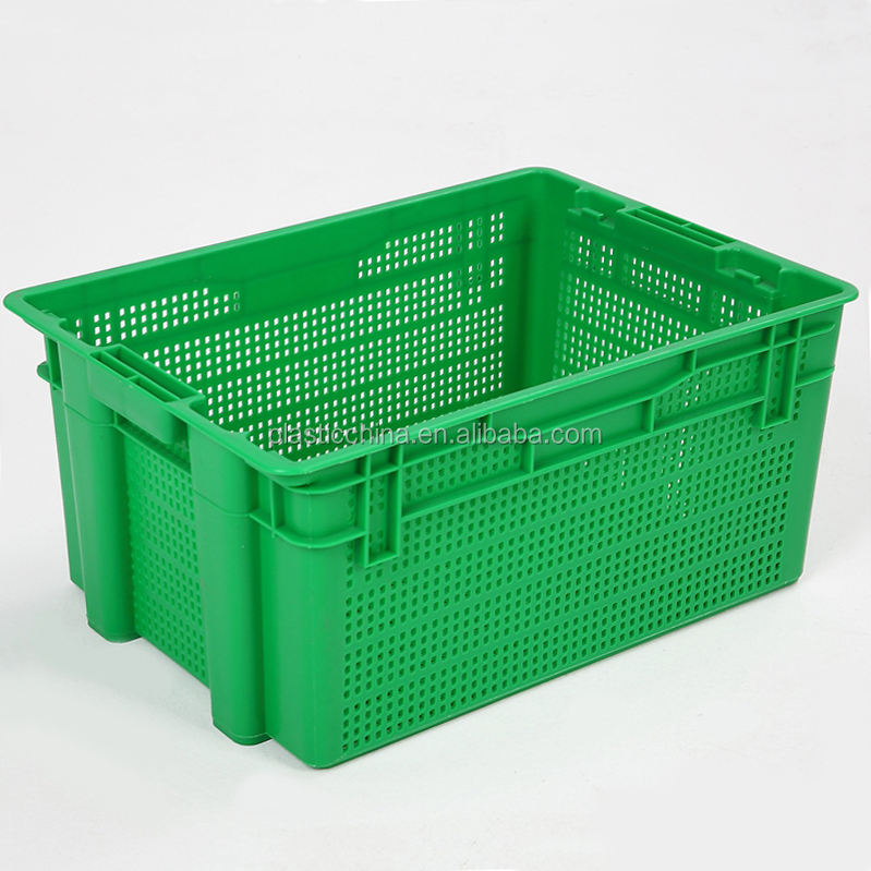Large industrial heavy duty agriculture vegetable and fruits stackable mesh plastic crate