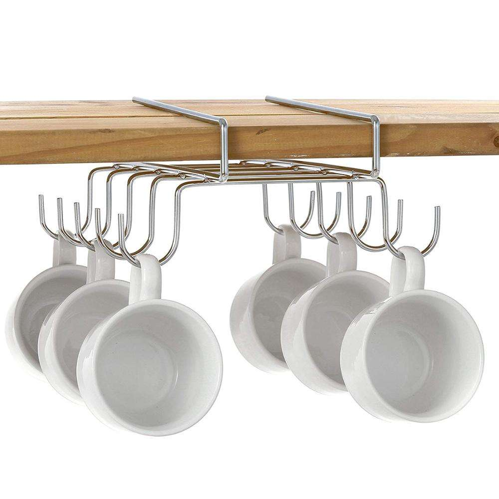 Kitchen nail free coffee mug organization hanging stainless metal wire cup holder