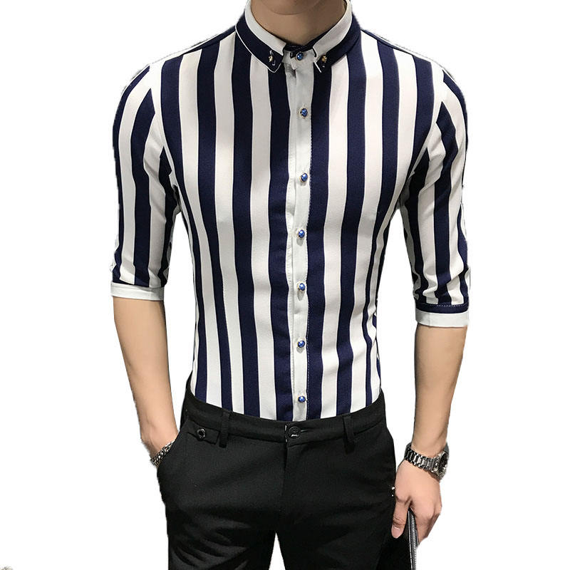 Striped Shirt Men 2019 Brand New Design Short Sleeve Mens Dress Shits 100% Cotton Casual Button Down Mens Shirts Plus Size