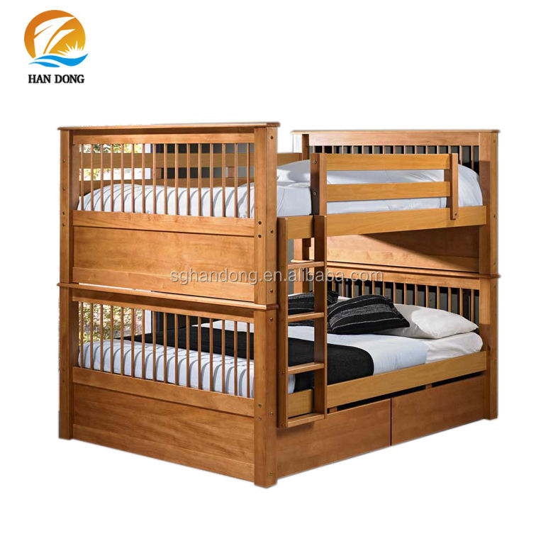 Espresso high end wood double two floor bunk beds with drawer