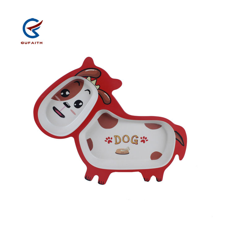 2 compartment biodegradable bamboo fiber donkey shape cute kids plates with funny red dog print