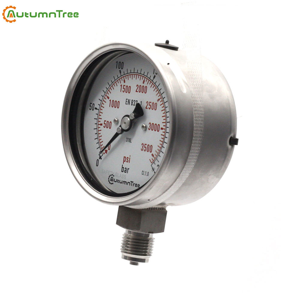 1.0% 100MA 100MPa Liquid-Filled Water Manometer Pressure Gauges