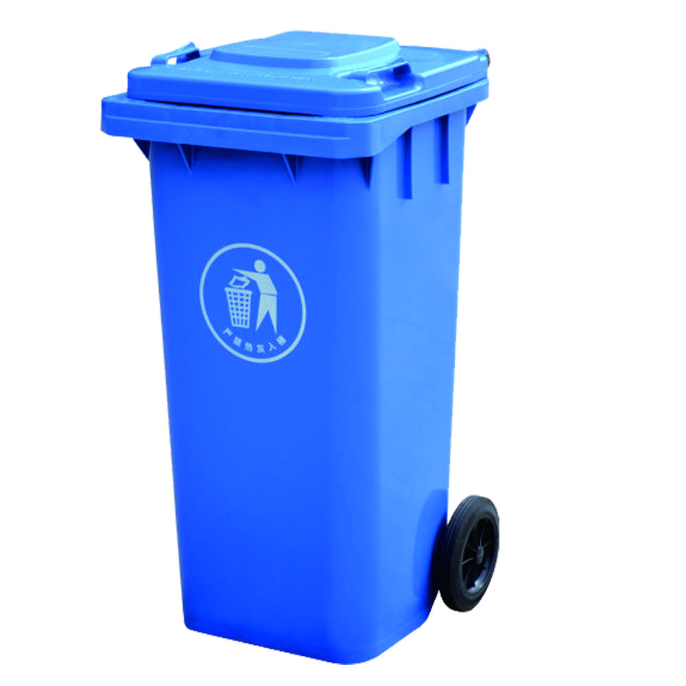 Used Outdoor 2 Wheels 120L Rolling Plastic Garbage Bin